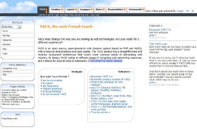 Capture d'écran du nouveau site officiel de Yacs