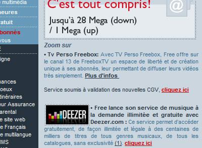 Lien Deezer sur Free.fr image